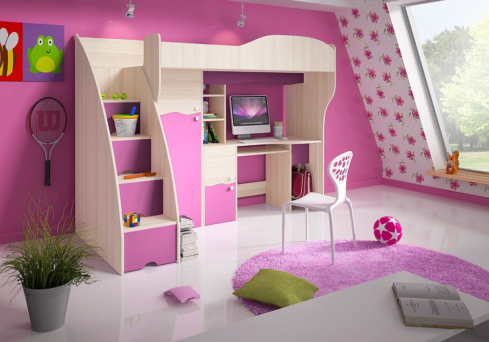 New Bunk Bed Loft Bed Cabin Bed And Wardrobe Desk Kids Furniture Pink Bed Green Girls Loft Bed Cabin Beds For Kids Loft Bed