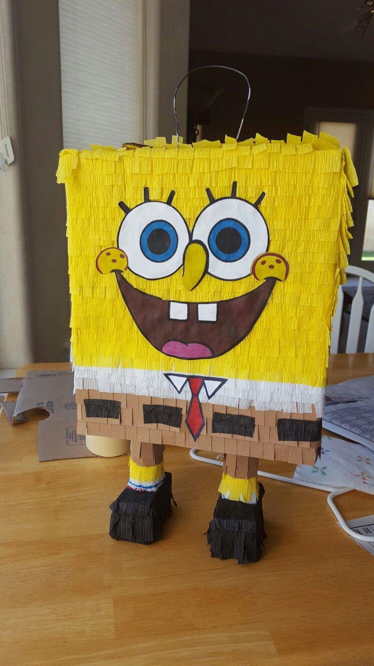 SpongeBob pinata for Spanish class paper mache over rice