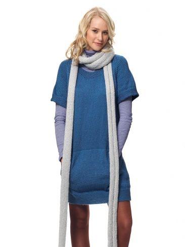 Dress With Kangaroo Pockets And Scarf Yarn Free Knitting