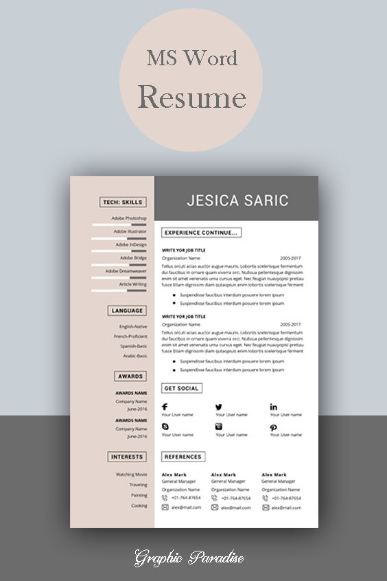 Professional resume template instant download, 3 page ...