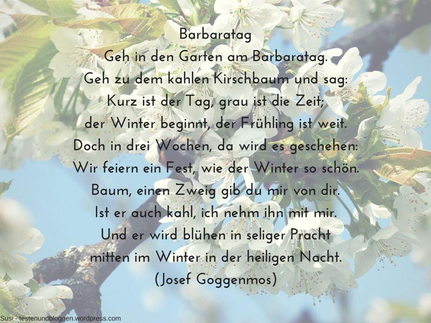 An Barbara Stell Dir Zweige Ins Haus Gartengedichte Gedichte Und Spruche Zweige