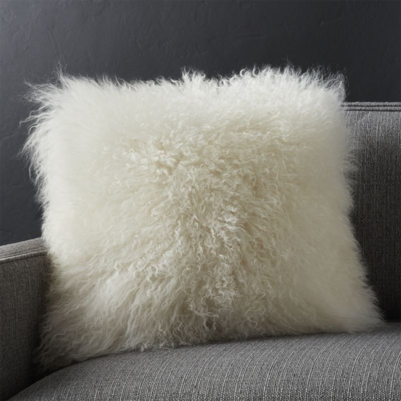 White Mongolian Lamb Pillow Crate And Barrel Decor Fur