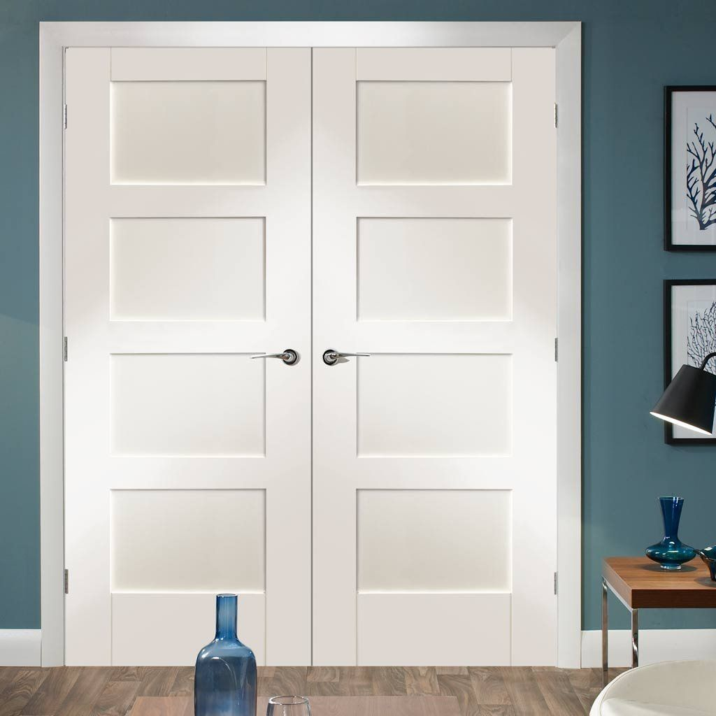 Shaker 4 Pane White Primed Door Pair White Paneling Double Doors White Internal Doors