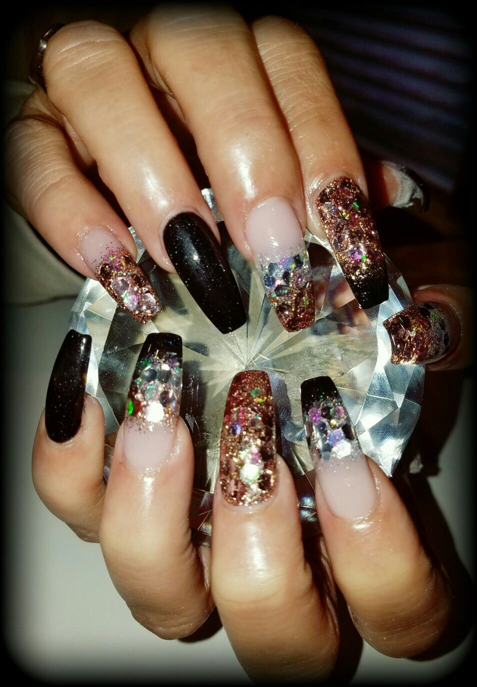 Flirtatious Nails In 2019: Black Rose Gold And Silver Glitter Coffin Nails