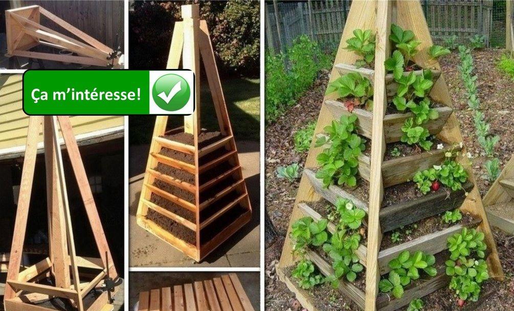 Comment construire une pyramide fraises potager - Comment faire un jardin vertical ...