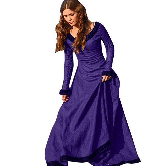 80ca2e07d88 FEITONG Femmes Cru Médiéval Robe Cosplay Costume Princesse Renaissance  gothique Robe (FR 38