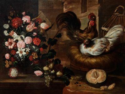 """35006579. YEPES, Tomás (Valencia, h. 1610 - 1674) y taller. """"Bodegón con aves de corral"""". Óleo sobre lienzo. Con marco del siglo XIX. Medidas: 94 x 123,5 cm; 106 x 136 cm (marco)."""
