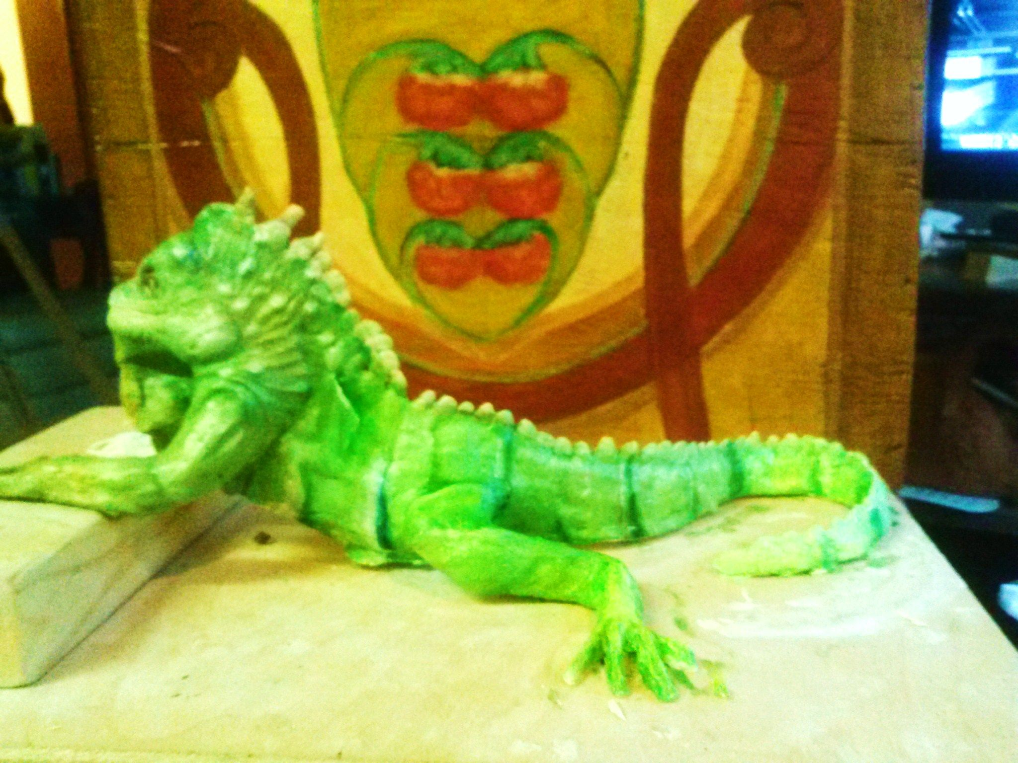 Another air dried clay piece, The Big Iguana, maybe my most popular visitor at the art studio (well, the sheep has a following too) he is posing in front of another of the very useful wooden boxes with botanical design