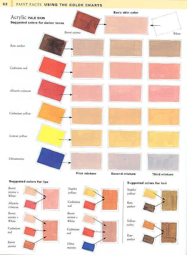 Color chart for painting skin tonesi have these very for Basic acrylic paint colors to have