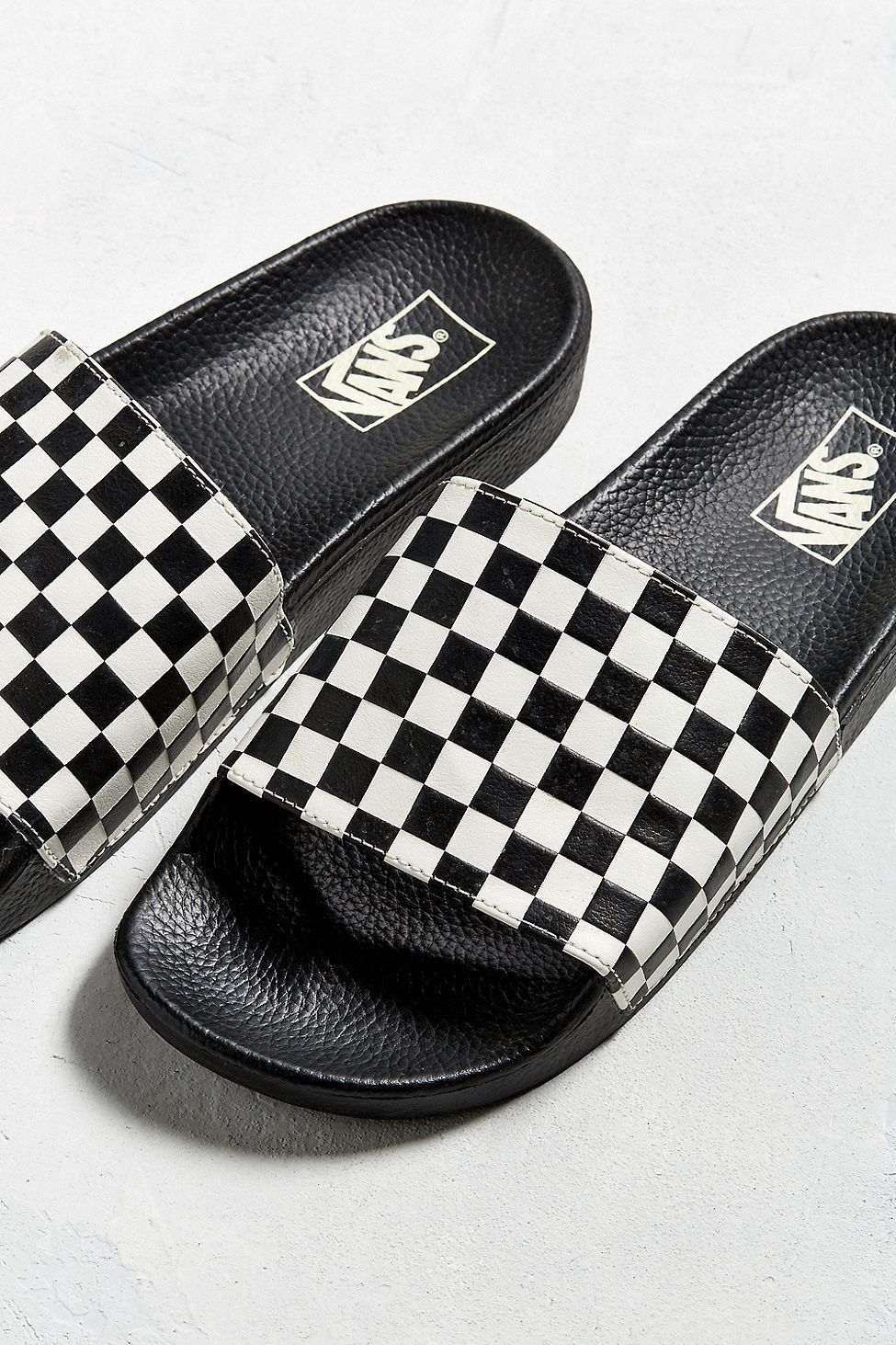639ad9ba10f Urban Outfitters Vans Slide-On Checkerboard Sandal - Black + White ...