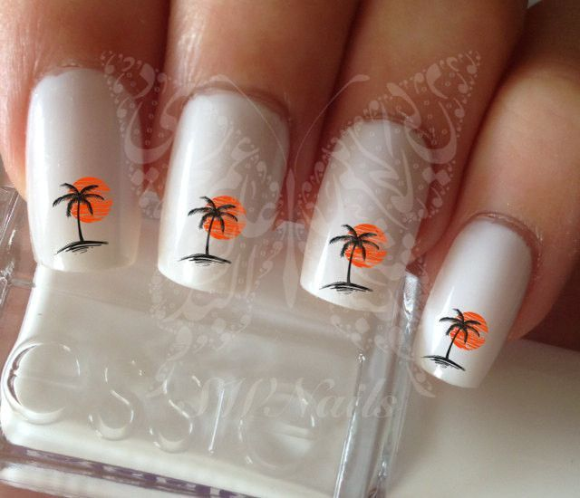 Nail Art Palm Tree Sunset Nail Water Decals Transfers Wraps Black ...