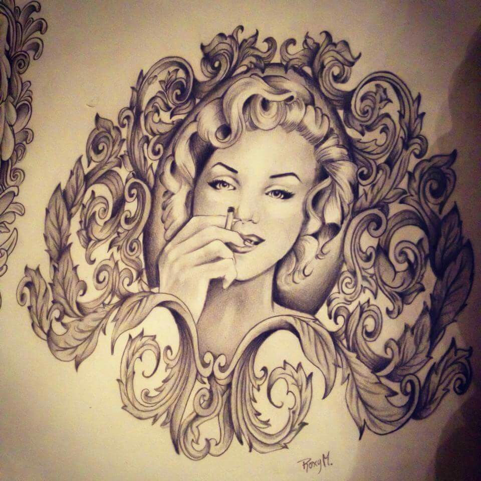 My marylin monroe tattoo design with filigree floral frame