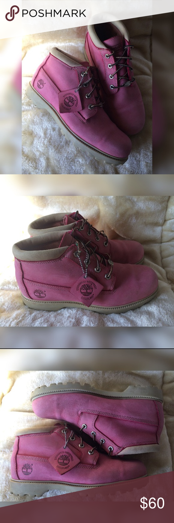 b120b488c3b27 Pink Nellie Timberlands Woman's size 10 bubblegum pink Nellie waterproof  chukka timberland boots, with cream/ off white details and rubber.
