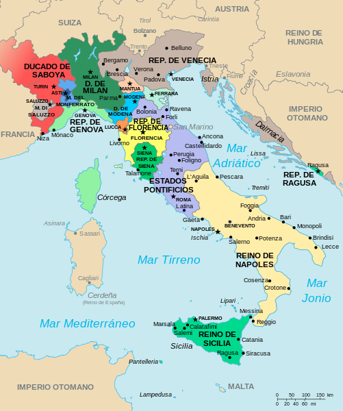 Carte Italie Xve Siecle.Italy Map 1494 Histoire 25 Renaissance Et Guerres De