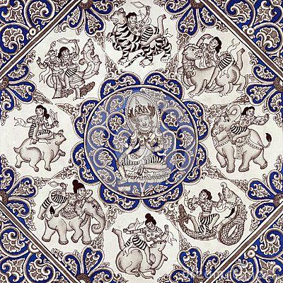 Buddhism - Burmese Sand Painting - Myanmar (Burma) Zodiac