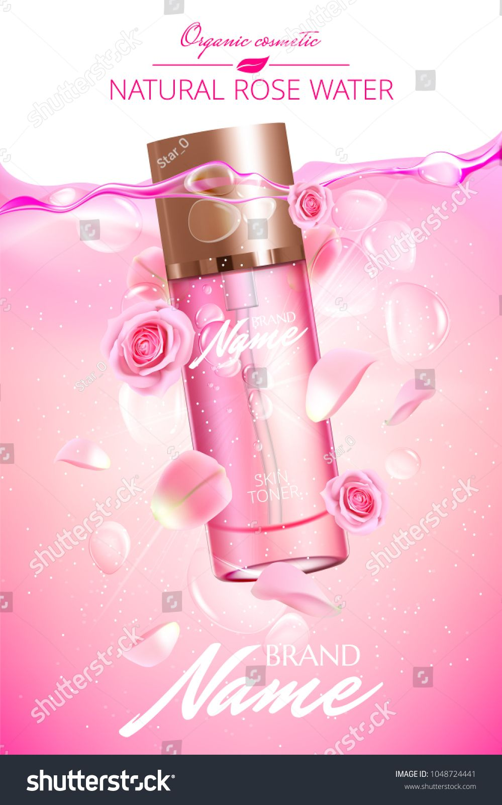 Advertising poster for cosmetic product with rose for ...