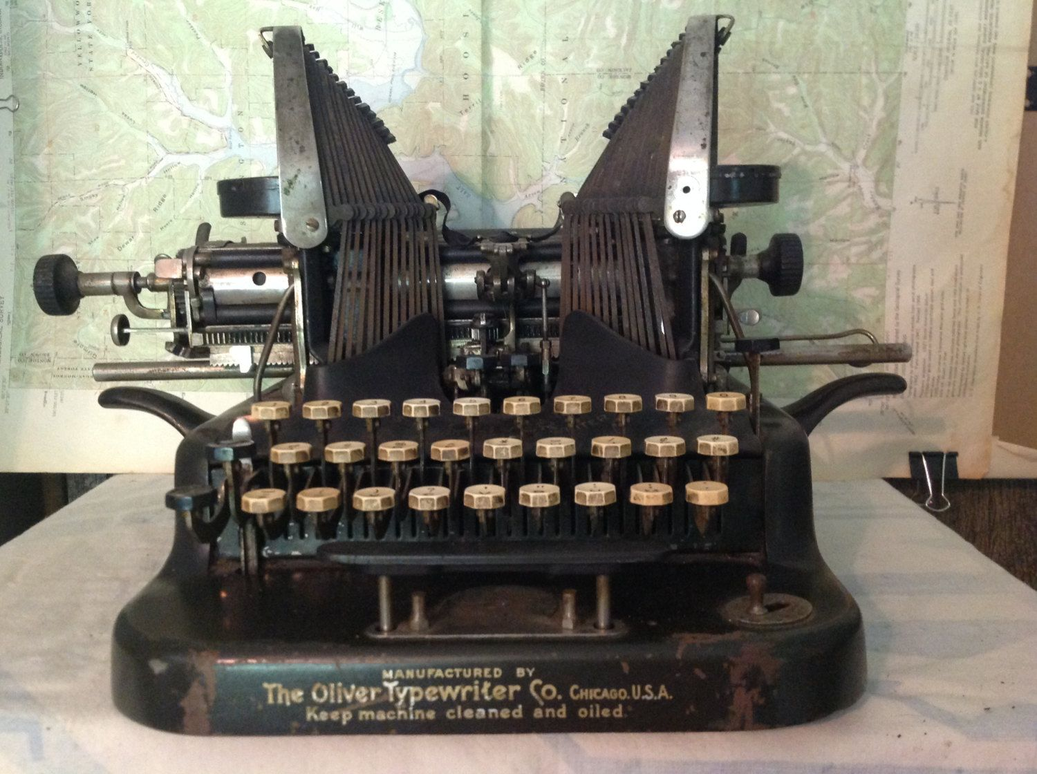 Antique Oliver No. 5 Manual Typewriter with Metal Cover Patent 1906 by IndustrialRev on Etsy