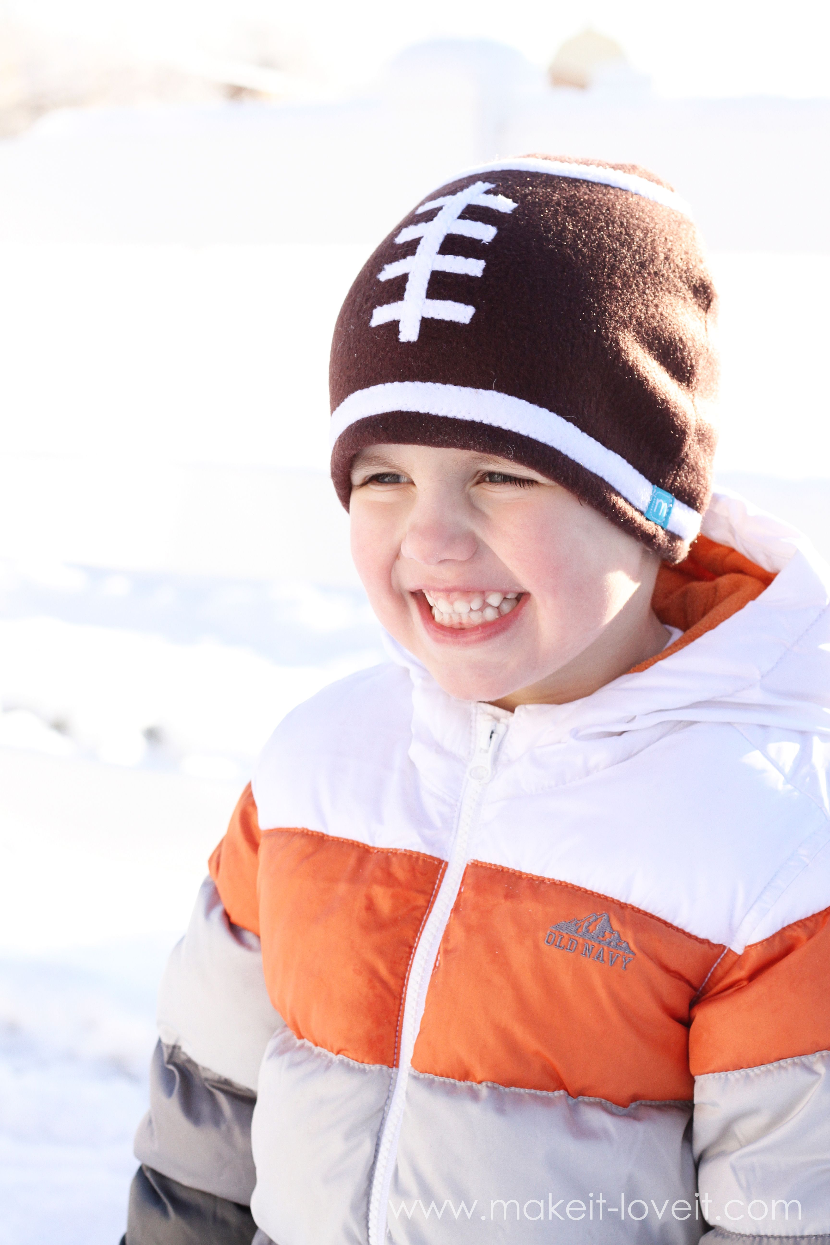 20f9df99580 Make a simple Fleece Football Hat --- Make It and Love It