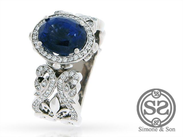 Huntington Beach Jewelry   Custom Sapphire & Diamond Fleur De Lis Engagement Ring