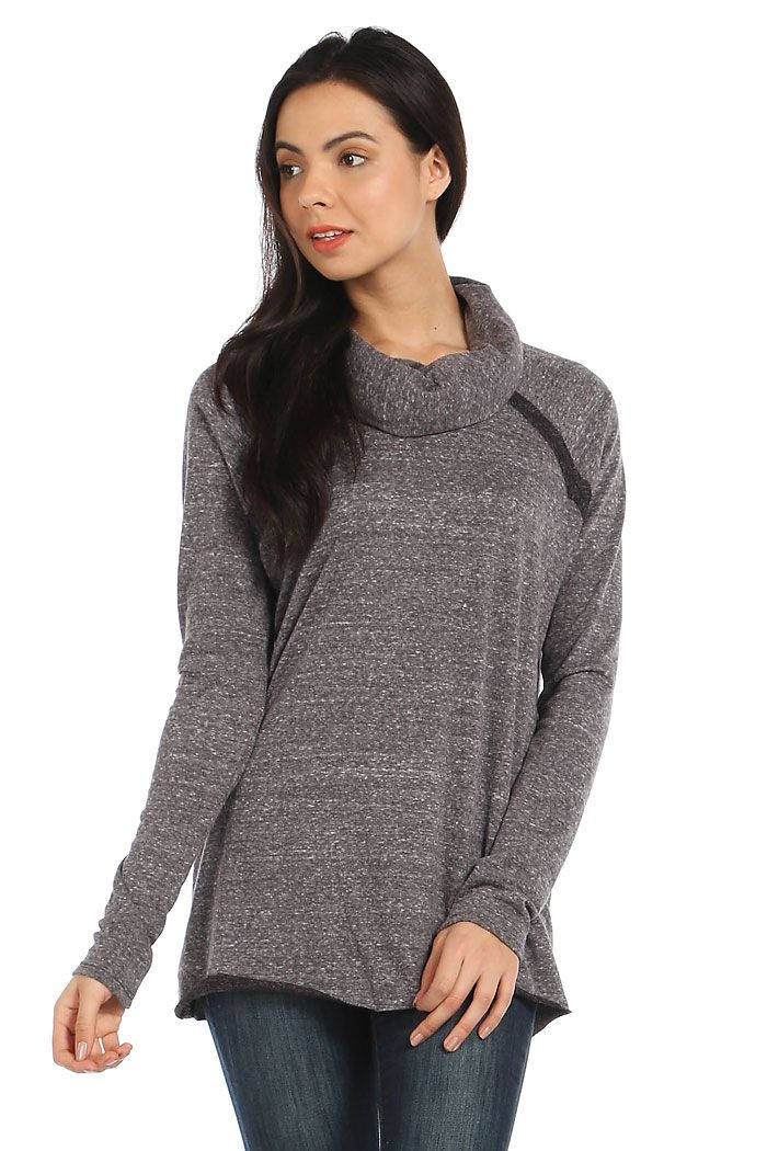 MARLED KNIT CONTRAST TRIM COWL NECK SWEATER- Charcoal | Sweaters ...