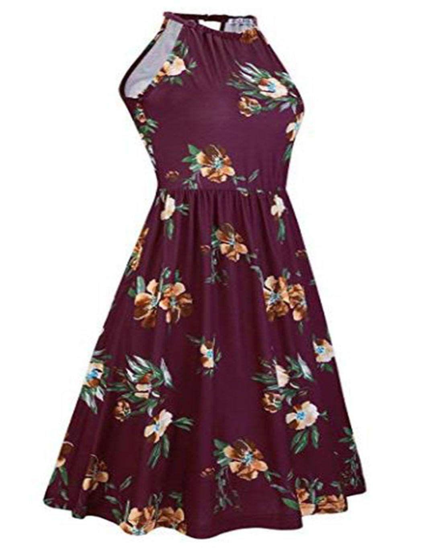 Tasefre Women Fashion Floral Halter Neck Sleeveless Summer Dress With Pockets Dresses Sleeveless Dress Summer Floral Dress Summer Casual Casual Summer Dresses [ 1365 x 1050 Pixel ]