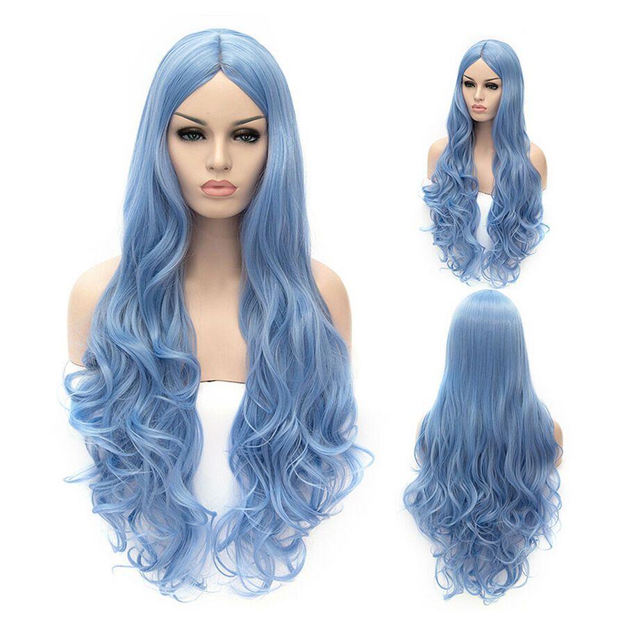 Ladies Fancy Dress Long Wigs Cosplay Wigs Parties Two Tone Blue Black