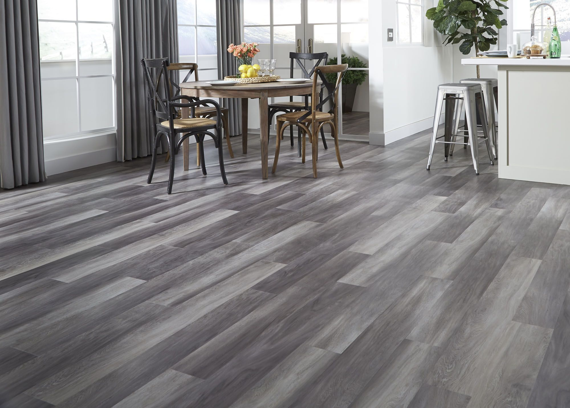 Stormy gray oak a waterproof luxury vinyl plank for New home flooring