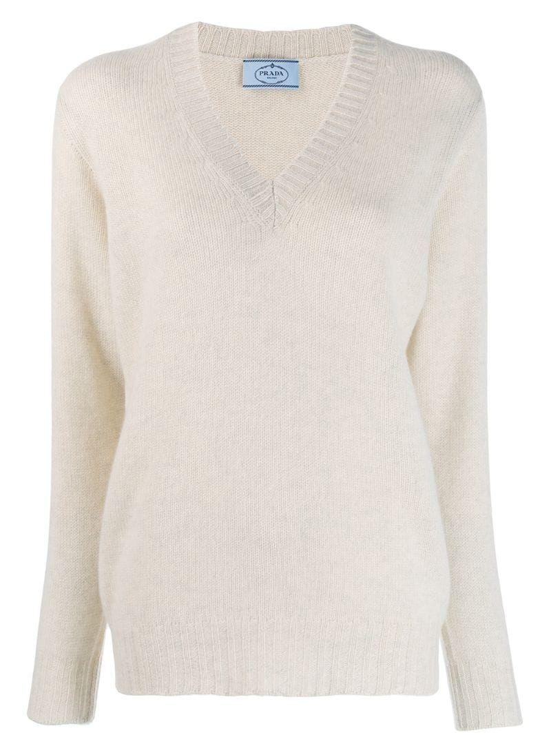 Prada v neck cashmere jumper Neutrals | Cashmere jumper