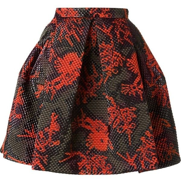 33f63b1427 KENZO 'Monster' quilted skirt ($780) ❤ liked on Polyvore featuring skirts,  юбка, knee length pleated skirt, kenzo, kenzo skirt, red pleated skirt  and ...