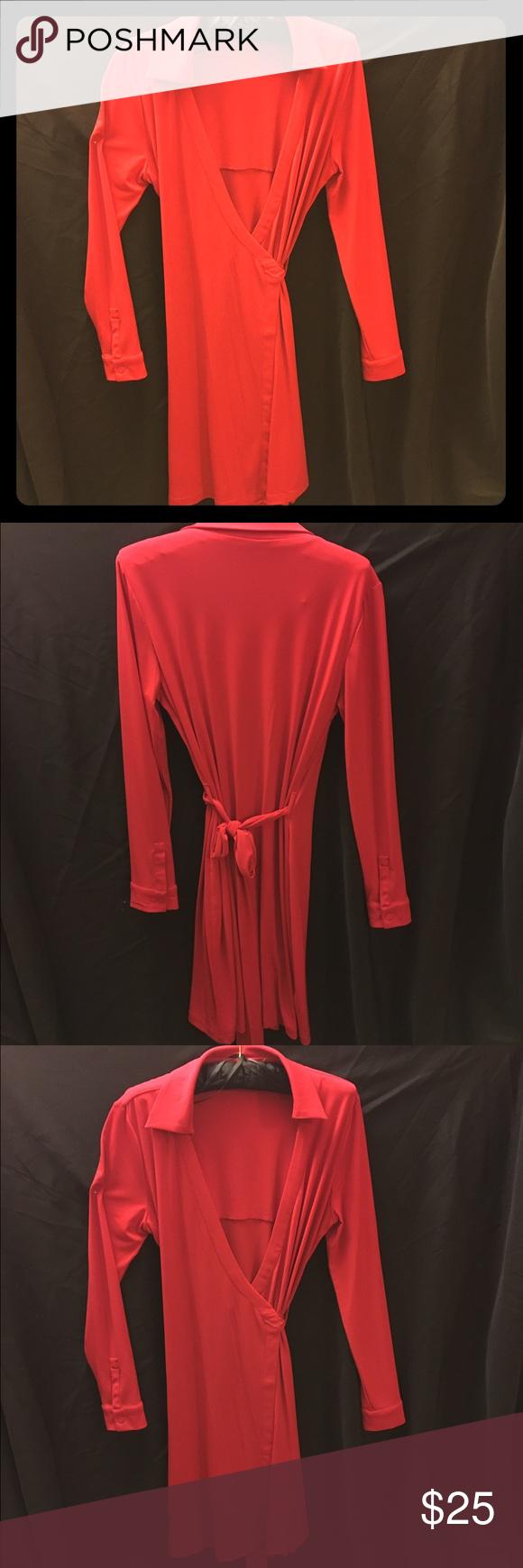 Nwot calvin klein wrap dress wrap dresses sleeve and long sleeve