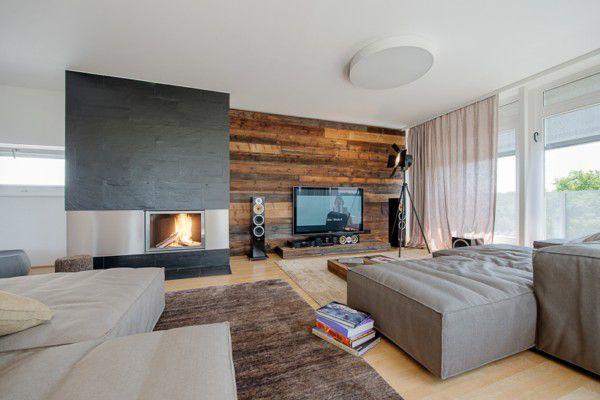 Wandverkleidung Holz Modernes Wohnzimmer Kamin Ecru Sofa