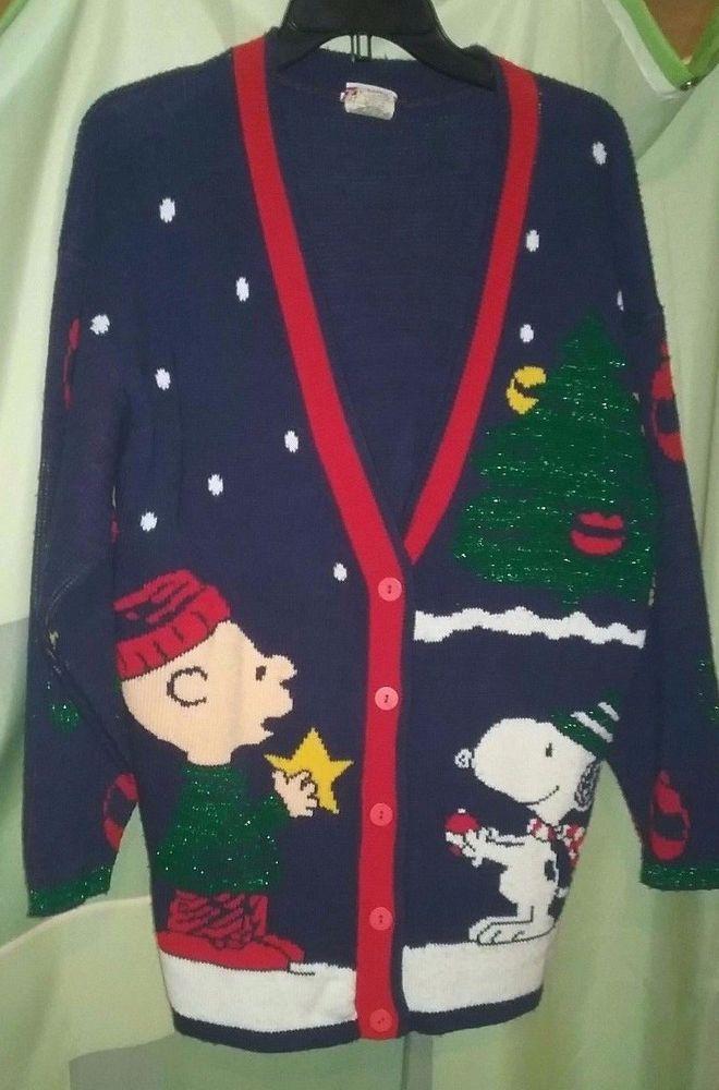 Peanuts Charlie Brown Snoopy Christmas Cardigan Vtg Ugly Christmas
