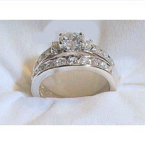 best price 4 14k White Gold 925 Engagement Wedding Ring Set cheap