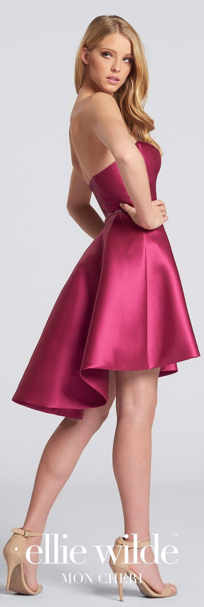 Mini high low strapless sweetheart neckline mikado dress ews