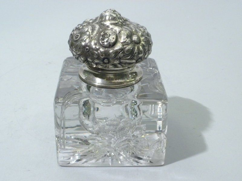 Inkwell  Inkstand  American Sterling Silver & Cut Glass  C 1900 #American