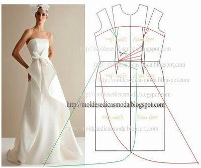 vestidos de novia | patrones vestido novia | Pinterest | Molde ...
