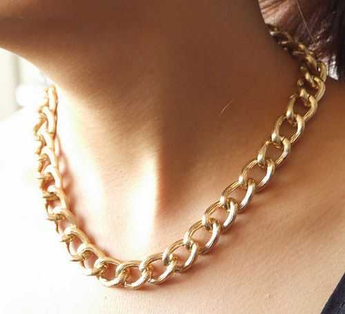 18 Heavy Textured Twist Light GOLD Chunky Curb Chain by meetlyluck, $9.98