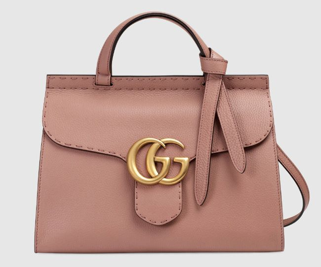 c0a4e8578766 Gucci GG Marmont Leather Top Handle Bag Pink Rose with Signature Double G  Hardware