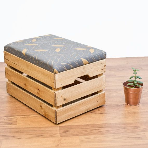 Upcycled Apple Crate Ottoman Foot Stool / Seat / Storage Box