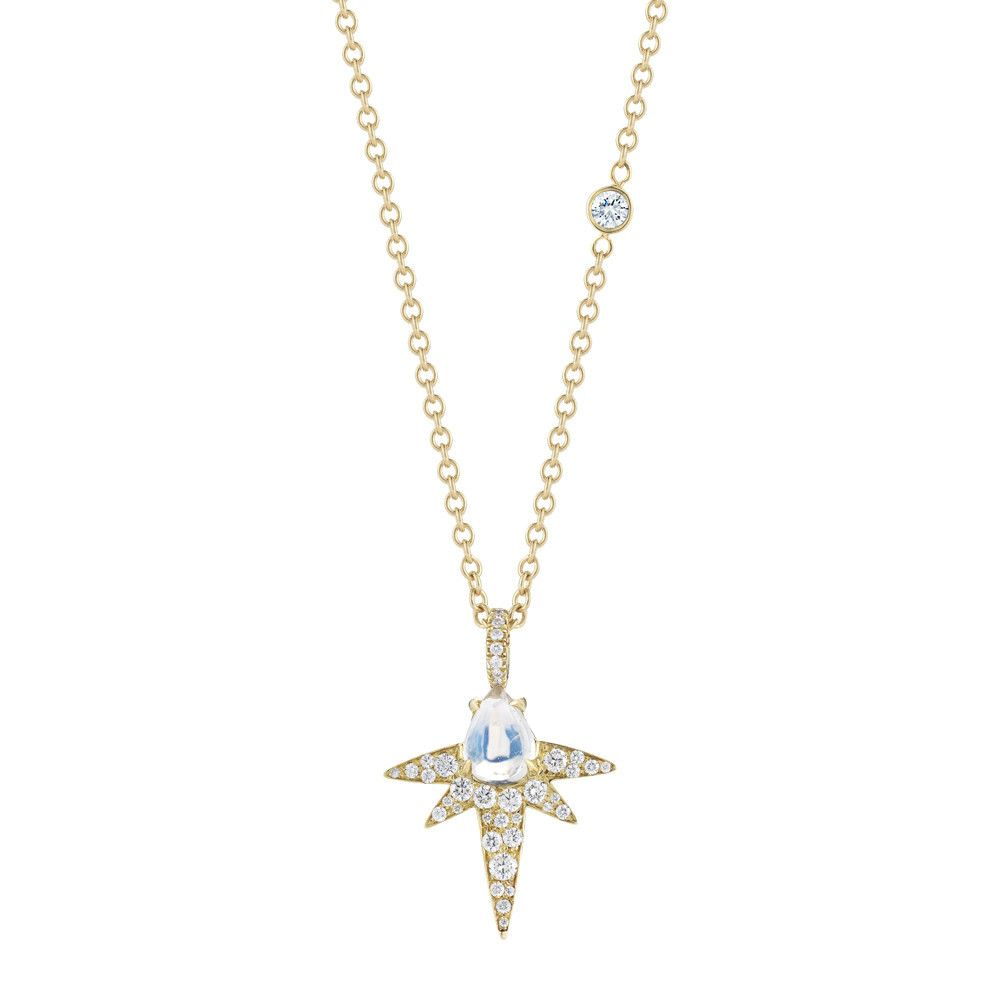 Moonstone Spike Necklace with Diamond Accent