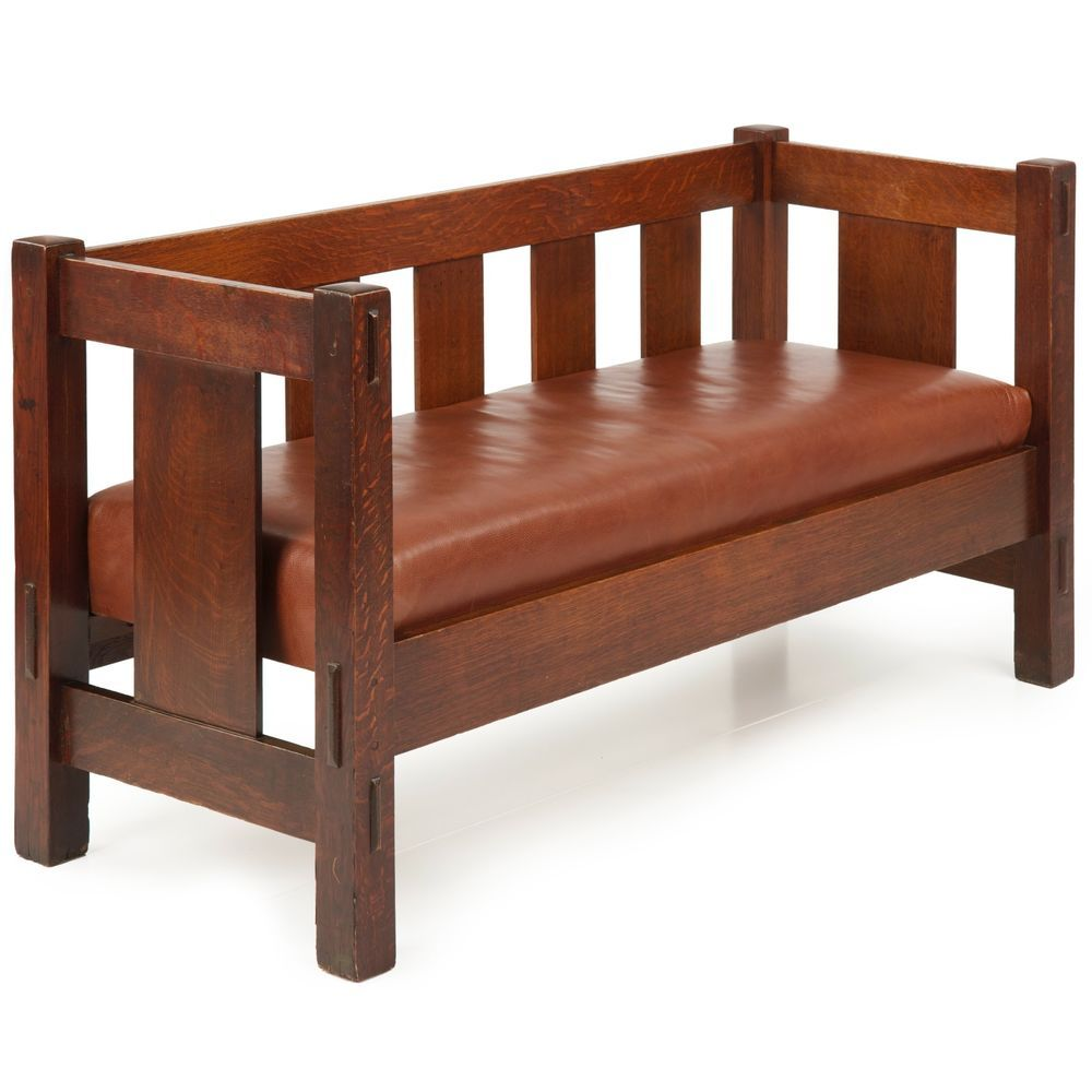 Rare Gustav Stickley Mission Oak Hall Settee Sofa Bench No 205 C 1905 12