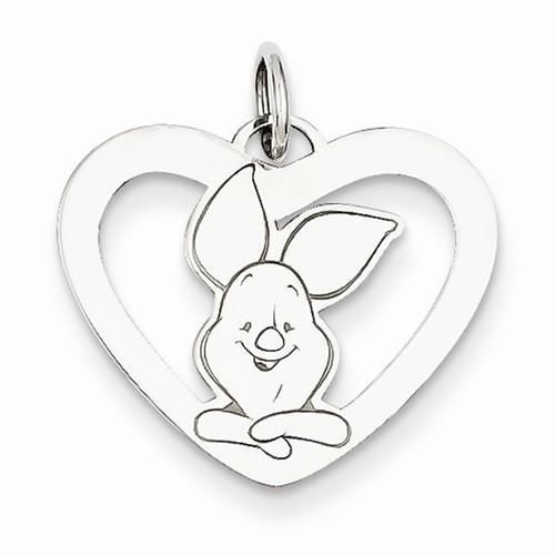 NEW DISNEY COLLECTION STERLING SILVER 925 PIGLET HEART PENDANT CHARM USA #DISNEY #Pendant
