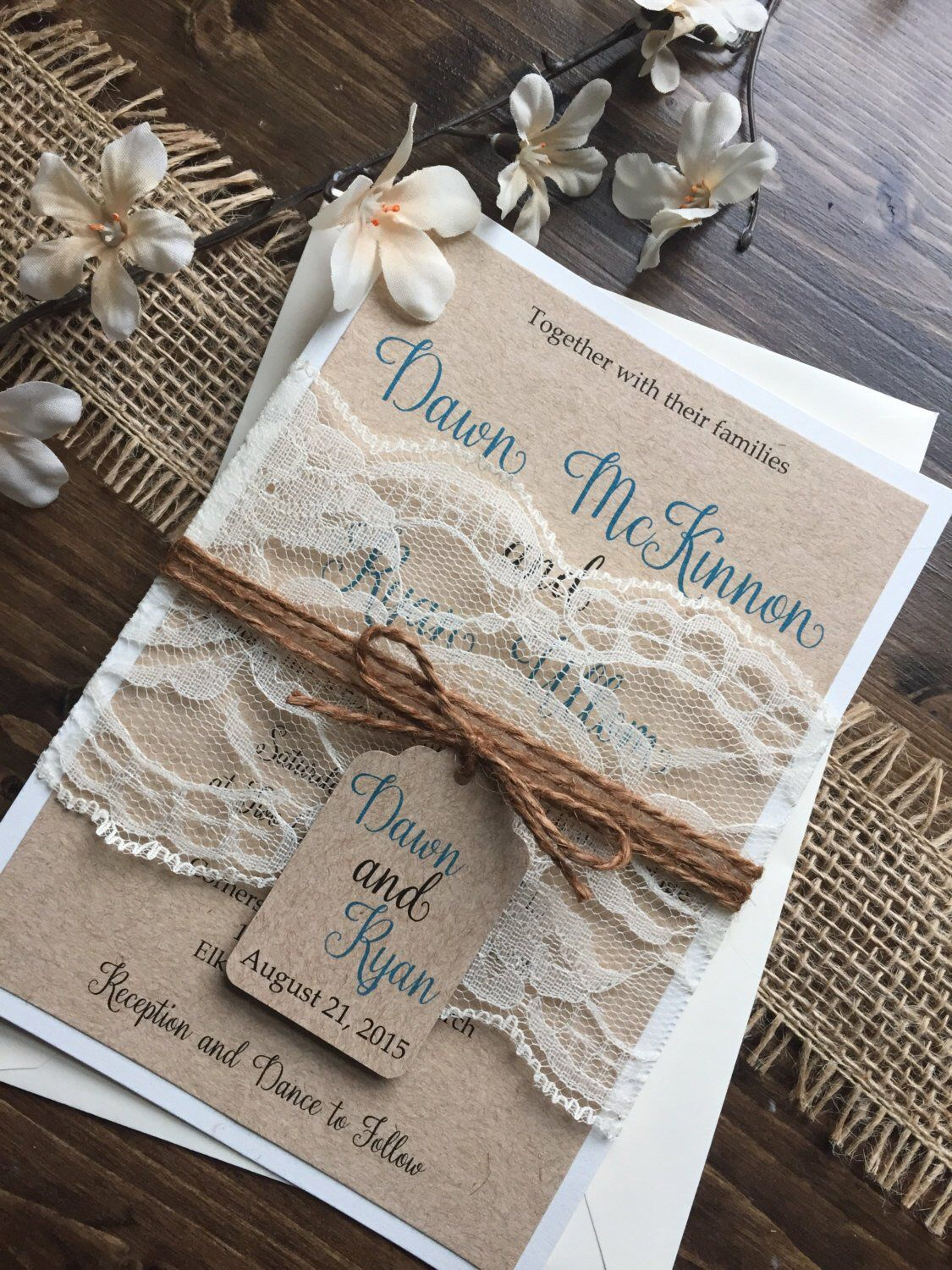 Rustic Wedding Invitation, Vintage Wedding Invitation, Elegant Wedding Invitations, Lace Wedding Inv