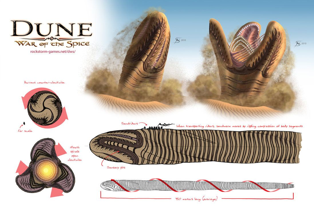 There have been a lot of designs made of the Giant Sandworms of Dune. The biggest problem I have with the ones I've seen is that very few seem to take into account how the sandworm would actually f...