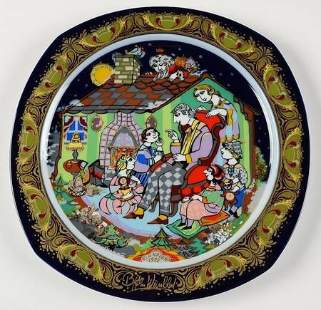 """Joy to the World"" Bjørn Wiinblad, 1992 Rosenthal Christmas Carol Plate (1983-1994)"