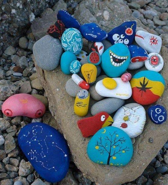 Random Designed Rocks Rock Crafts Stone Painting Crafts