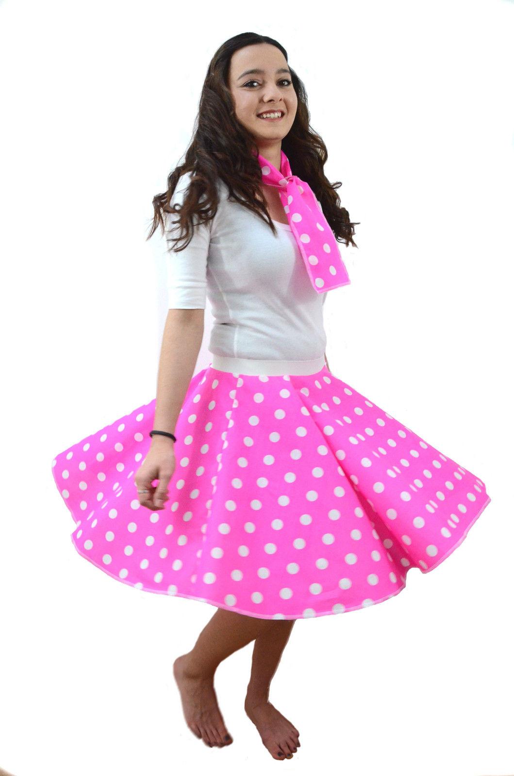83d1fe94640e Plus Size Circle Polka Dot Rock N Roll Skirt & Scarf Set 1950S 60S Pink  Ladies