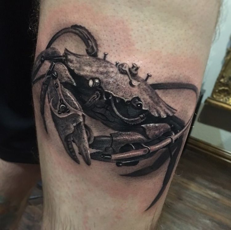 Black and grey realistic steampunk crab tattoo by sunny