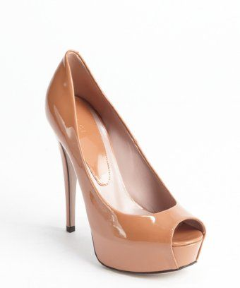 Gucci: dusty blush patent leather platform peep toe pumps