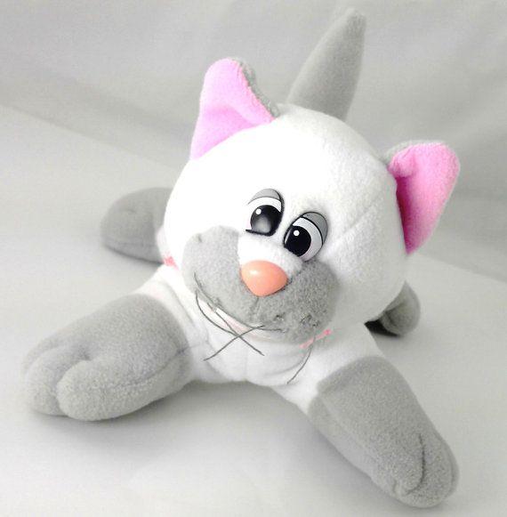 Vintage 1985 Tonka Pound Purries Newborn White Gray Kitten Plush